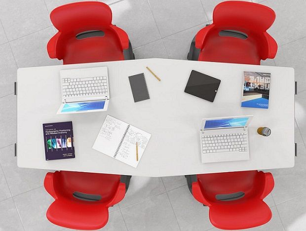 Chevron Dry Erase tables for classroom collaboration and office coworking space.