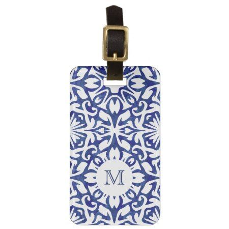 Blue and White Watercolor Spanish Tile Monogram Luggage Tag - click/tap to personalize and buy  #navy #gift #gifts #giftideas #giftforher #pattern #patterns #modern