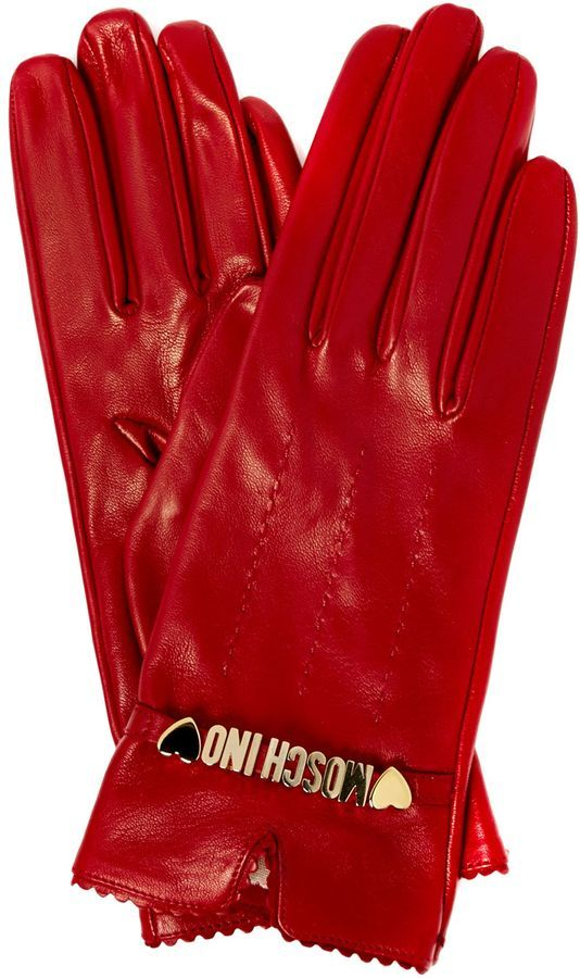 Moschino Cheap & Chic Leather gloves with Moschino detail