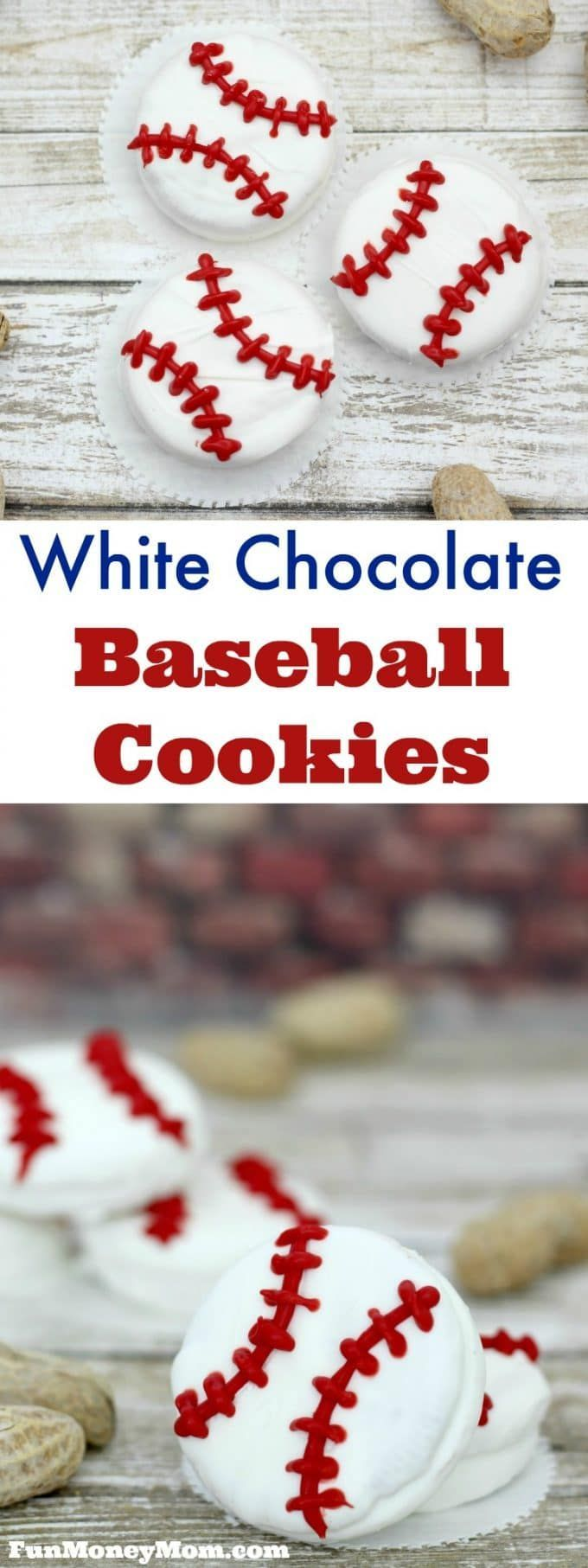 These white chocolate baseball cookies are perfect for your sports themed party, little league game or just a fun treat to enjoy while watching the game! #Baseball