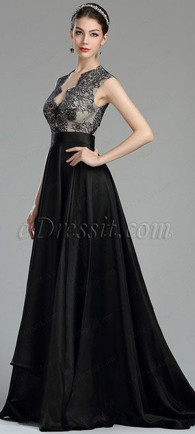 c54b4e30b662 Beautiful Black Long Lace Evening Dressing Gown(00180600) | Prom ...