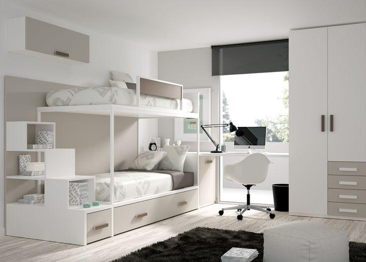 Muebles Ros, nos propone en este ambiente una distribucion muy completa en la que tenemos todo, tres camas, armario, zona de estudio y una gran capacidad para almacenar.