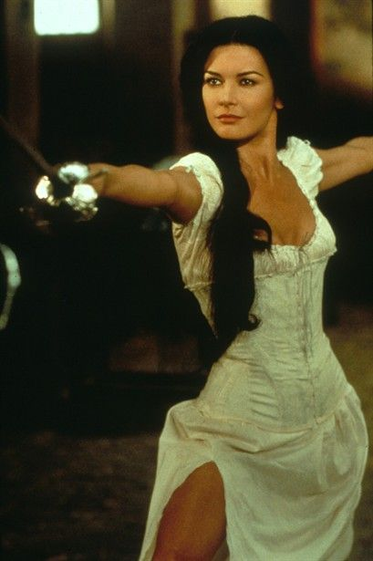 Catherine Zeta Jones in the Mask of Zorro--great sword play scene.     Alejandro: Be careful senorita, there are dangerous men about.  Elena: Well if you see one, be sure to point him out.