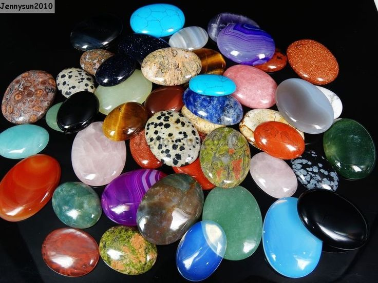 Natural Gemstone Oval CAB Focal Flatback Cabochon For Crafts Jewelry 30mm 40mm
