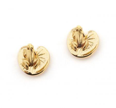 Frog & Lilipad Stud Earrings