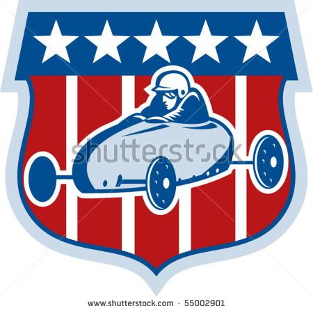 vector illustration of an american Soap box derby car with shield and stars and stripes in the background. #soapboxderby #etro #illustration