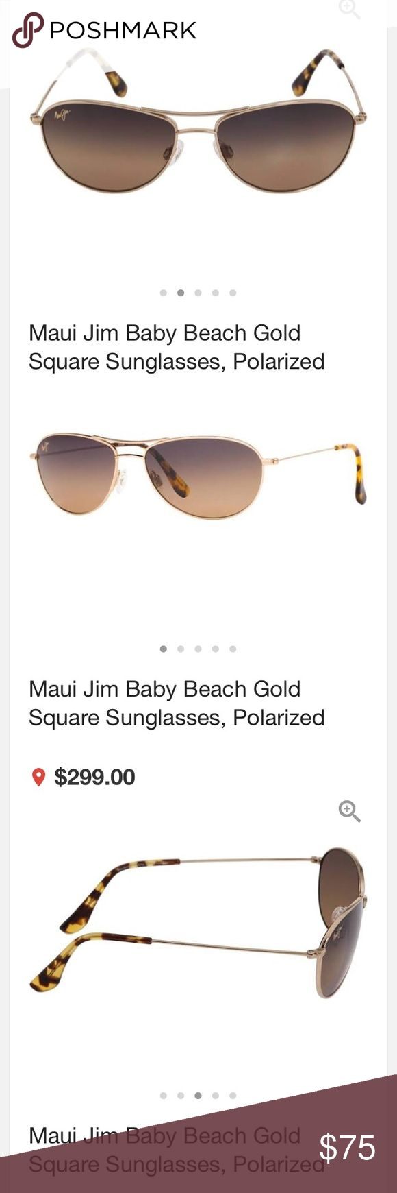 Maui Jim Baby Beach gold square polarized sunglass Maui Jim Baby Beach gold square polarized sunglasses 😎.  These gorgeous sunglasses have gold frames and brown polarized lenses.  Comes with a brand new original case and new original cleaning cloth.  I absolutely love these but getting a brand new Tiffany pair for Christmas 🎄.   Extremely comfortable on as well as sophisticated looking.  Polarized lenses have minor surface scratches.  Frames are in perfect condition.  This style made for a…