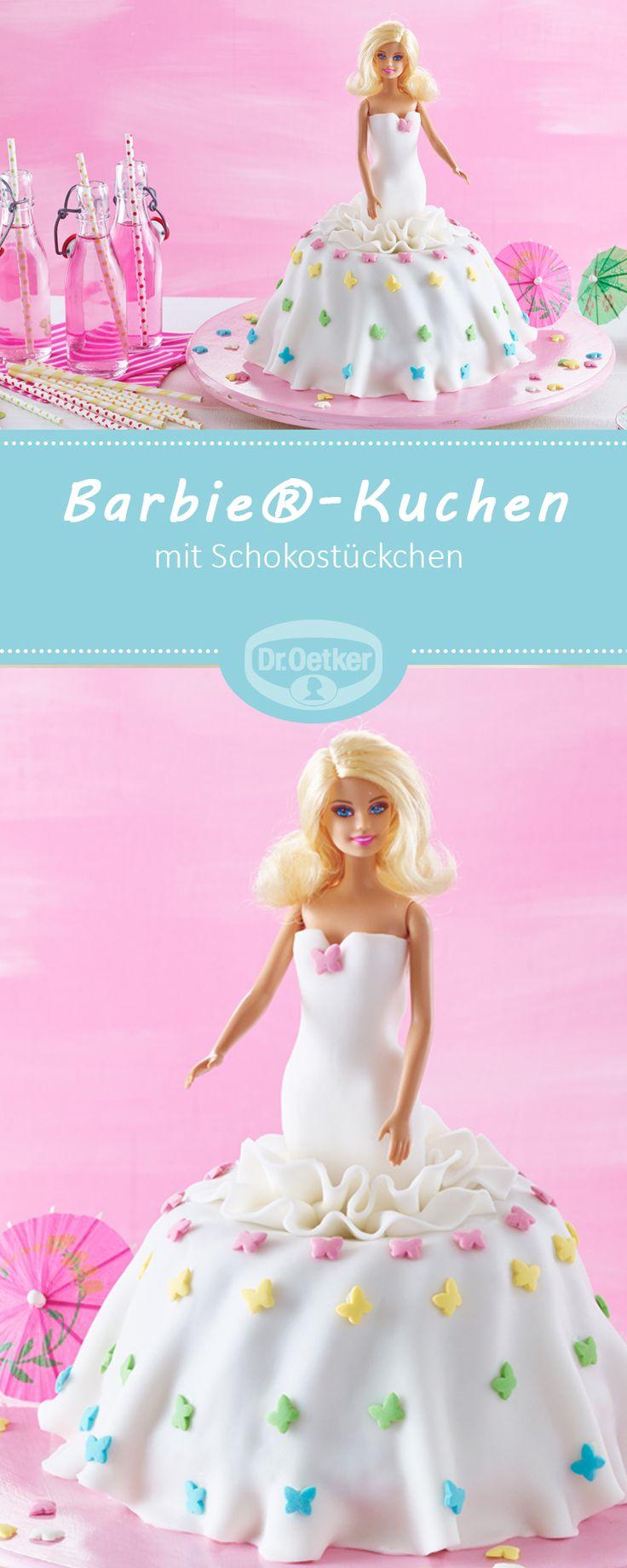 Barbie®-Kuchen - Ein lockerer Rührkuchen mit Schokostückchen #rezept #kinder #barbie