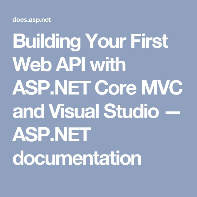 Building Your First Web API with ASP.NET Core MVC and Visual Studio — ASP.NET documentation