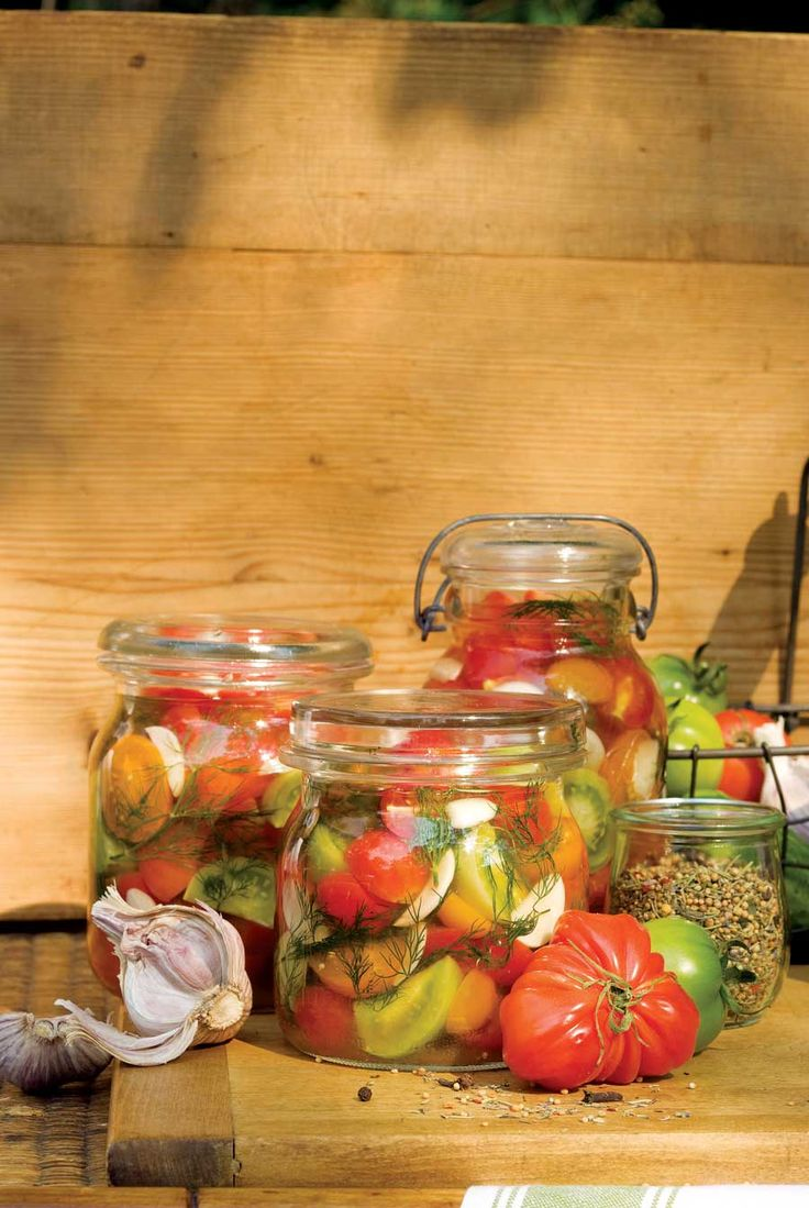 [ Recipe: Tomato pickles! ] These are amazing...use basil for the herb along with some sliced garlic and black peppercorns. ~ from the HerbCompanion.com