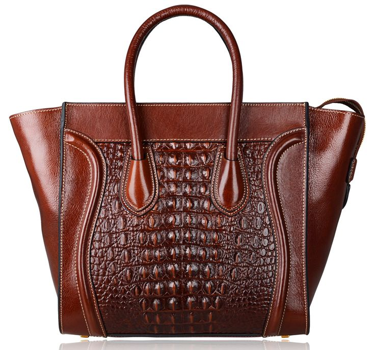 """Pijushi Simple Euro Style Ladies Bags Crocodile Embossed Leather Tote Purse Top Handle Handbags for Women (Model 6011, Brown Big Size). 100% Genuine Leather. Embossed Crocodile Leather. Lining Fabric. Top Zip Closure. Big Size:L 18"""" x H 12"""" x W 7"""", zipper opening up to a large storage,two open pockets on one side and one zipper pocket on the other side for storage."""