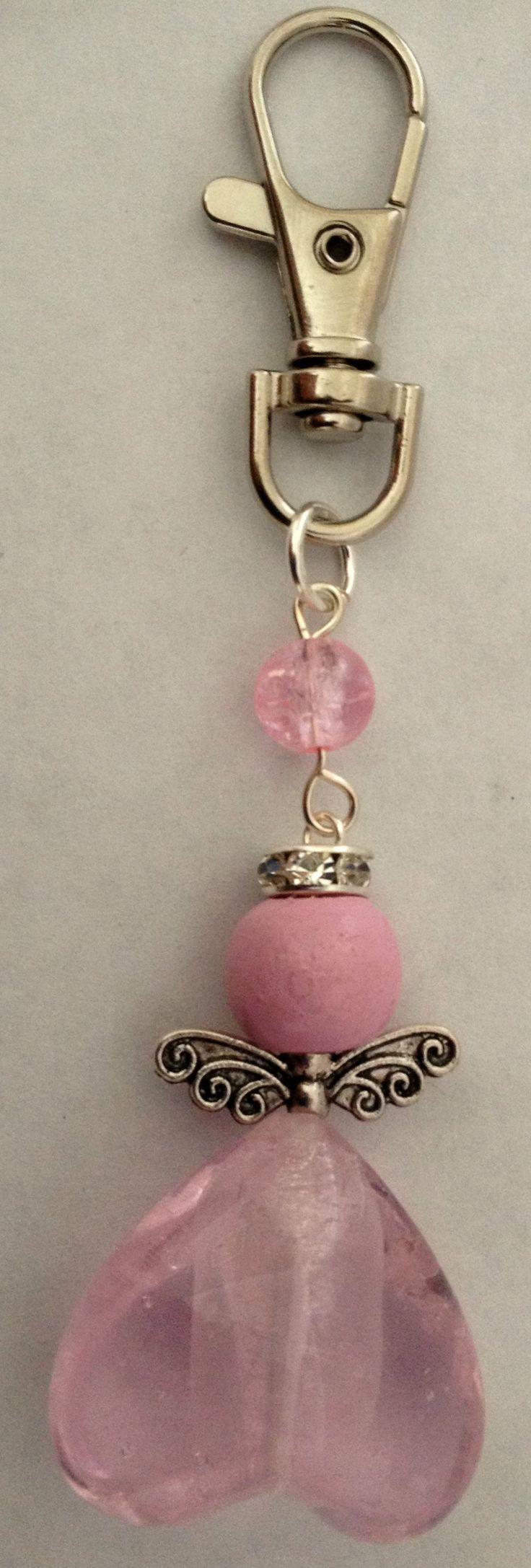 pink angel keyring