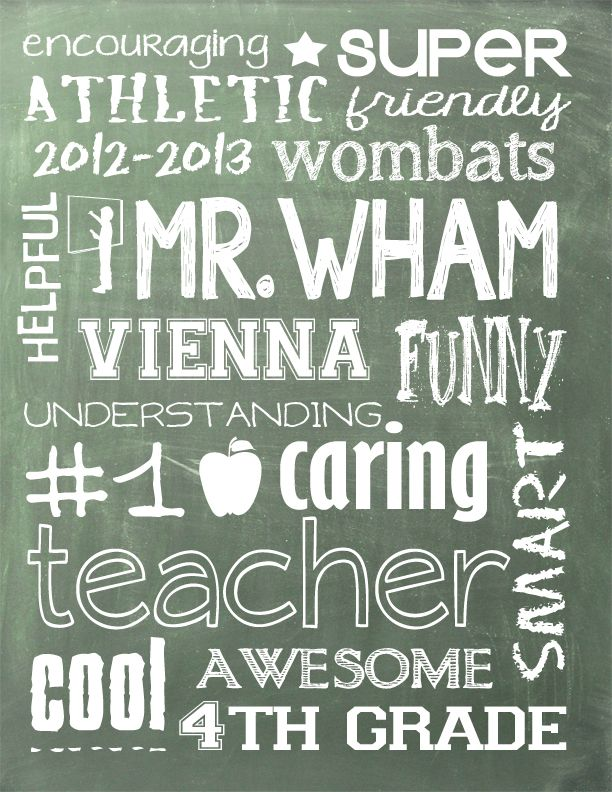 Created this 'chalkboard art' in Photoshop...customize it for any teacher or coach!