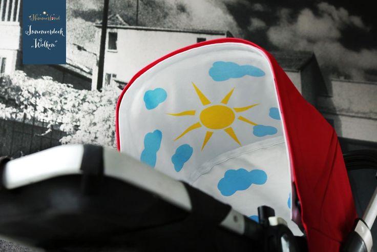 Kinderwagendeko: Jeden Tag Sonnenschein mit diesem Kinderwagenzubehör: dem austauschbaren Innenverdeck mit Sonne und Wolken. Die Kinderwagendeko gibt jedem Kinderwagenbezug - ob Bugaboo, Emmaljunga, Teutonia, Brio, Britax oder Hartan und viele andere Kinderwagen Marken - die individuelle Note. Das perfekte Geschenk zur Geburt: wunderschöne Kinderzimmer to go. Einfach mit Klettverschluss befestigen. Ein wunderschönes Baby Spielzeug! Tolle Ergänzung zur Kinderwagenkette.
