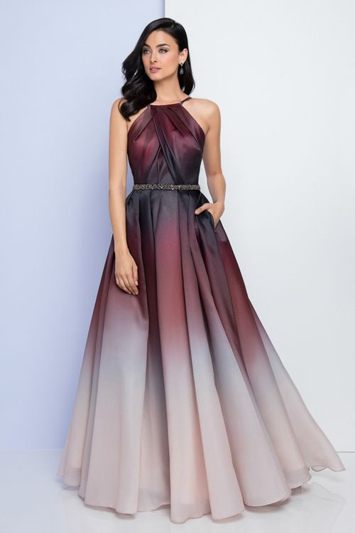 c4d91091d6b Terani Couture - 1722E4201 Halter Neckline Ombre Evening Gown  Long Prom  Dress (Sleeveless