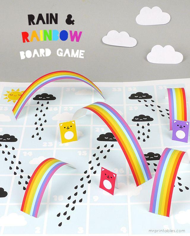 Rain & Rainbows Board Game printable template - perfect rainy day fun!