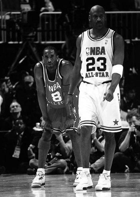 Michael Jordan at his final All Star Game. Kobe Bryant in the Nike Air Jordan III.