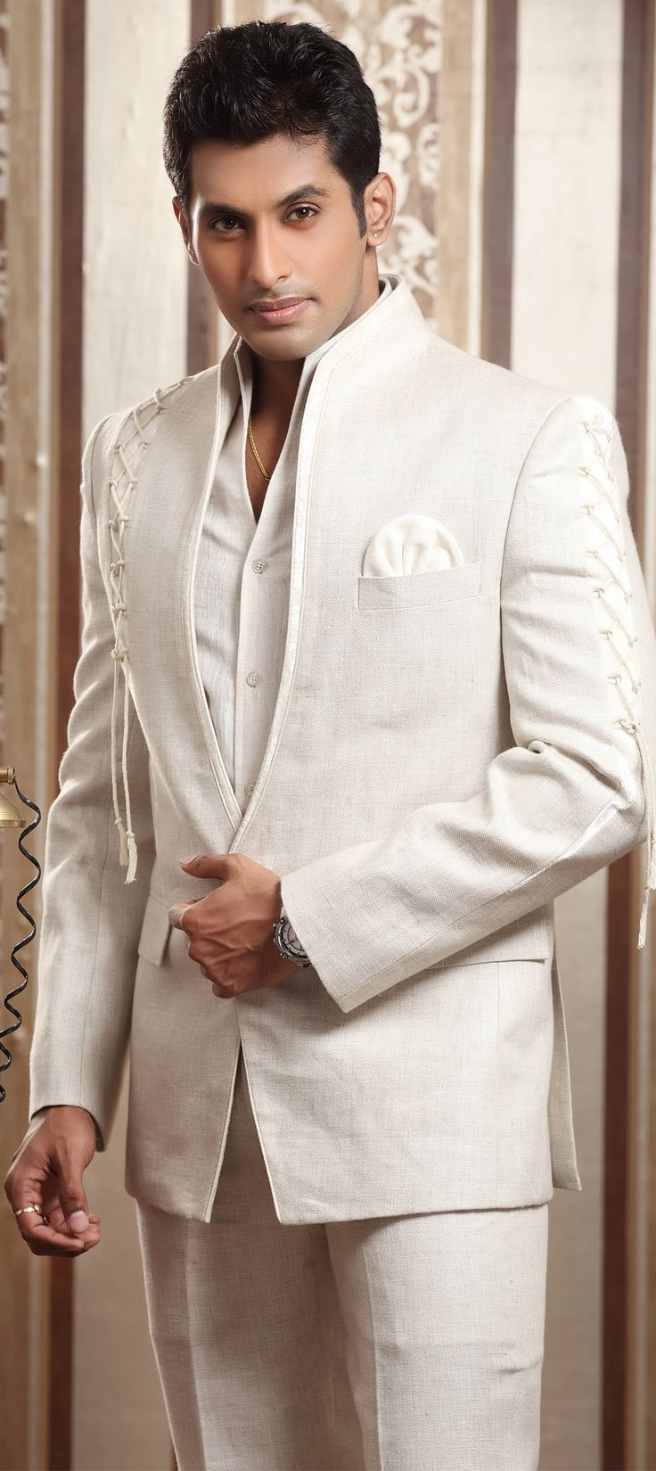 12687: White and Off White color family stitched 2 Piece Suit (with shirt) .