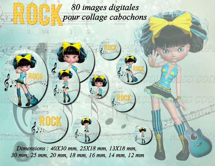 80 images pour collage digital cabochons bijoux 'Miss Rock' : Loisirs créatifs, scrapbooking par miss-coopecoll
