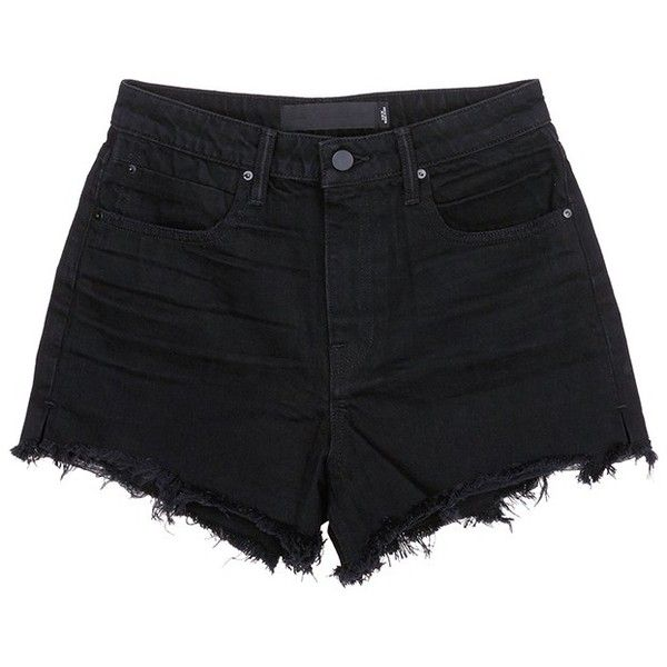 T by Alexander Wang 'Bite' frayed cuff denim shorts (€185) ❤ liked on Polyvore featuring shorts, bottoms, pants, black, black denim shorts, high waisted shorts, cut off denim shorts, summer shorts and black shorts