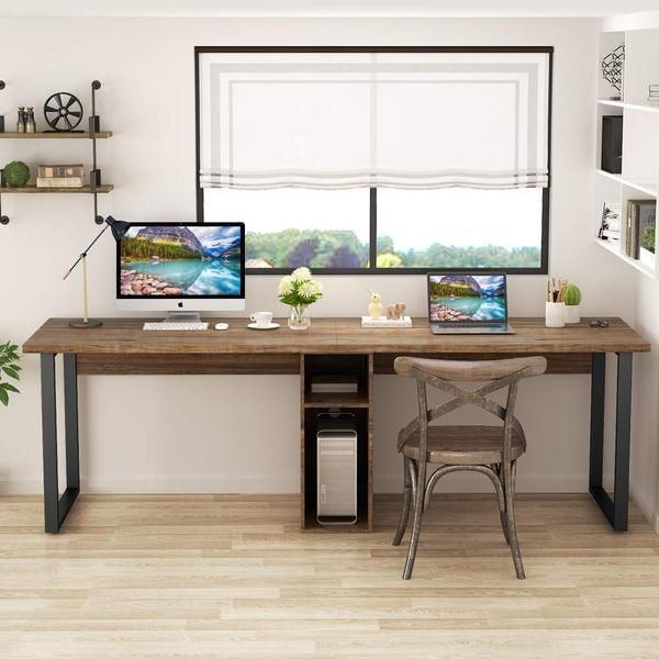 78 Extra Large Two Person Computer Desk With Shelf Double Workstation Desk For Home Office Clivia Black Home Desk Home Computer Desk With Shelves