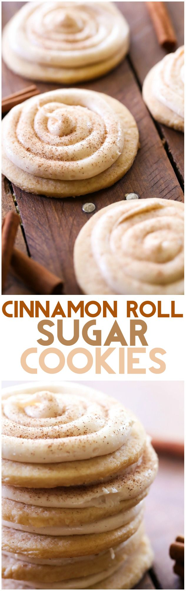 1 cup butter, softened 1½ cup sugar 1 egg 1 teaspoon vanilla 3 cups flour 1 teaspoon baking powder ½ teaspoon salt ½ teaspoon cinnamon Cinnamon Roll Frosting 16 ounces cream cheese 4 cups powdered ¼ teaspoon salt ¼ teaspoon cinnamon ½ vanilla