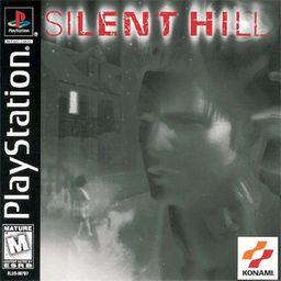 "Artwork of the game packaging. The top portion reads ""Silent Hill"", while a left side bar reads ""PlayStation"". The cover art, which is mainly colored in grey, depicts the following computer-generated imagery: the face of a young man (center), a girl in front of a staircase (left), a house (upper-left), the charred face of a girl (down-left), the face of a middle-aged woman (upper-right) and the face of a young woman (down-right)."