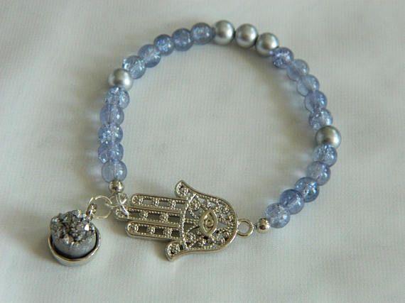 Hamsa/ Kaf/Nazar Boncugu/ Hand of Fatima  bracelet with Ocean