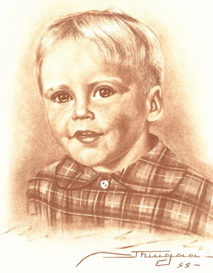Min far som dreng.     Hans Arndal Lauritzen født 1937    Tegnet i 1955 ud fra et fotografi