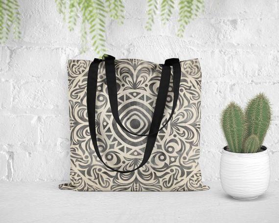 Boho tote bag, Black and white tote bag, Watercolor Mandala shoulder bag, Bohemian beach bag, Graduation gift, BTmandala6w