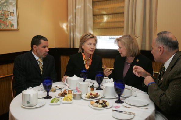Senatordesignate Rep Kirsten Gillibrand US Secretary of State Hillary Rodham Clinton New York Gov David A Paterson and US Sen Charles Schumer talk...