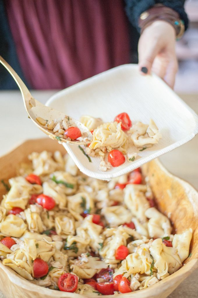 Caprese Tortellini Salad with Toasted Pinenuts, Fresh Mozzarella & Grape Tomatoes Recipe