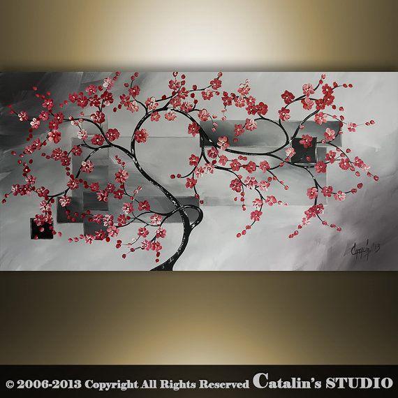 Original Modern Landscape Asian Zen Tree Blossom by Catalin