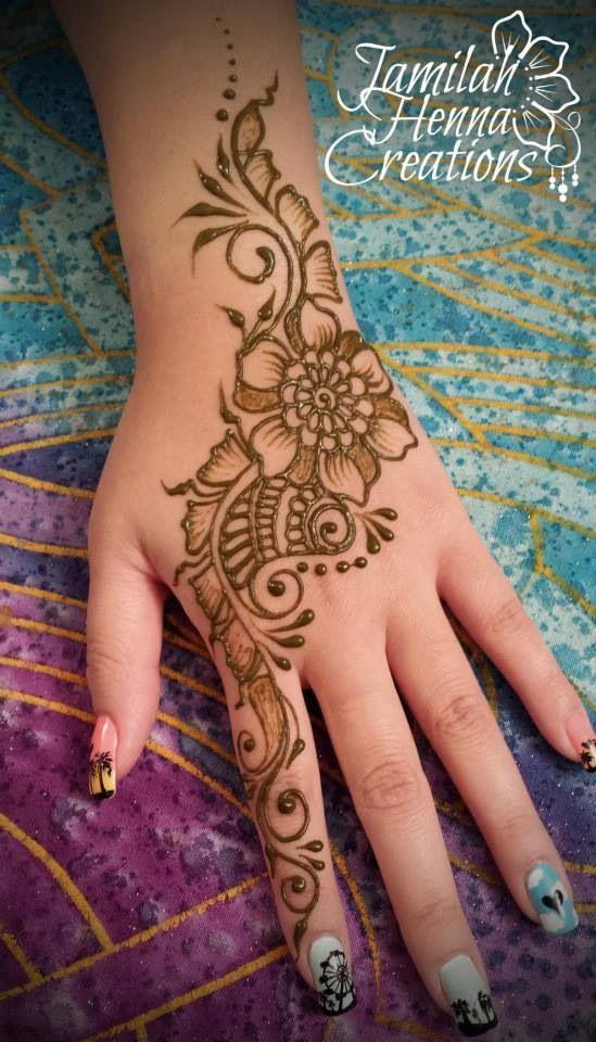 wwww.jamilahhennacreations.com. Shaded flower and paisley henna