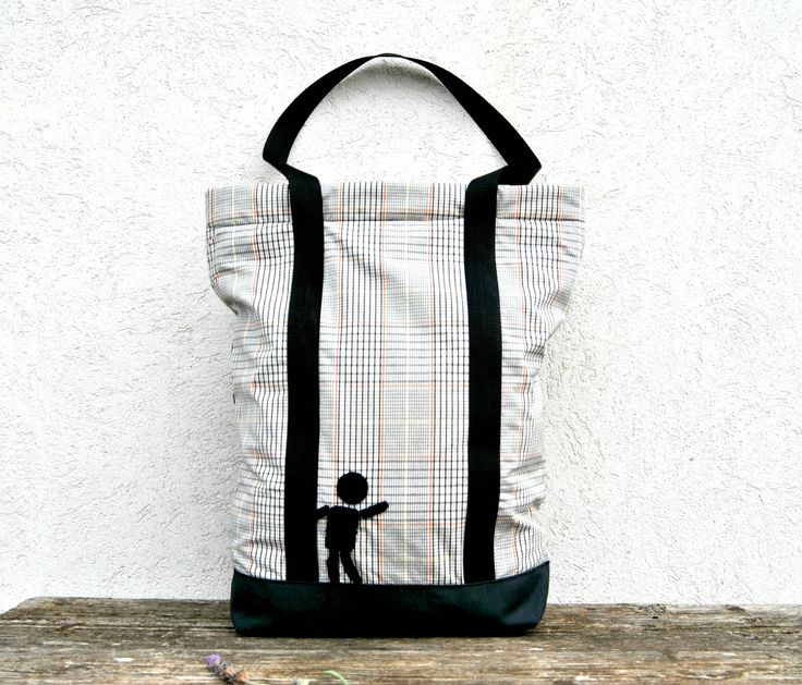 """Zippered Canvas Tote Bag in modern grey tartan fabric and funny """"Little Man"""" crochet decor, unique Handmade in Italy by KatiaFabricStudio on Etsy"""