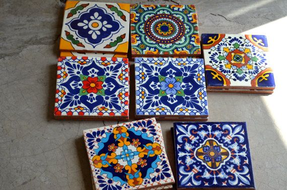 """14 Mexican Talavera Tiles.Hand made-Hand painted 6 """"X 6"""" - Why not mix a few of these beauties in the back splash?"""