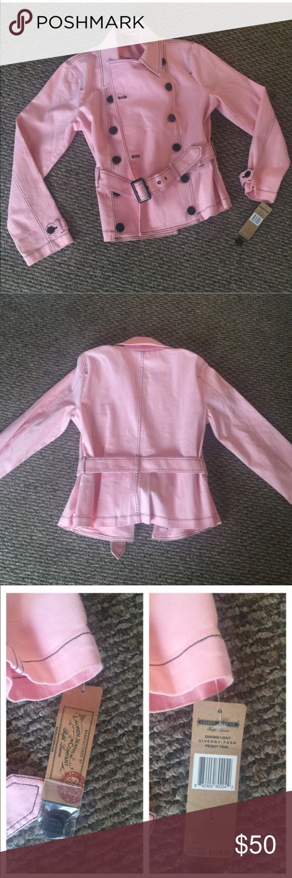 Jean Jacket nwt Beautiful and stunning pink Ralph Lauran jacket jeans company. The pictures tell its story of how absolutely amazing it is. Size large. NWT this is really a beautiful and amazing jacket!!!! Super soft with a lil stretch. Lauren Ralph Lauren Jackets & Coats