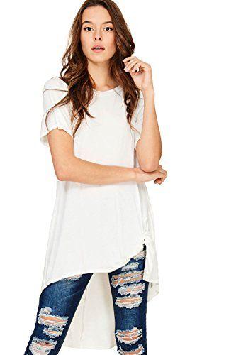 78e4c6fc Annabelle U.S.A Annabelle Women's Short Sleeve Casual T Shirt Knot Hem High  Low Tunic Tops