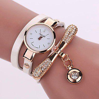 Modieuze dames horloge met wit goud kleur kwarts