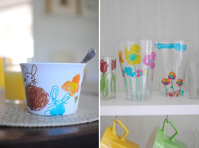 Decorating with glass and porcelain markers...Tutorials Diy, Diy Painting, Diy Fun, Diy Watercolors, Ceramics Crafts Mothers Day, Porcelain Pens, Porcelain Markers, Painting Watercolors, Tutorials Painting