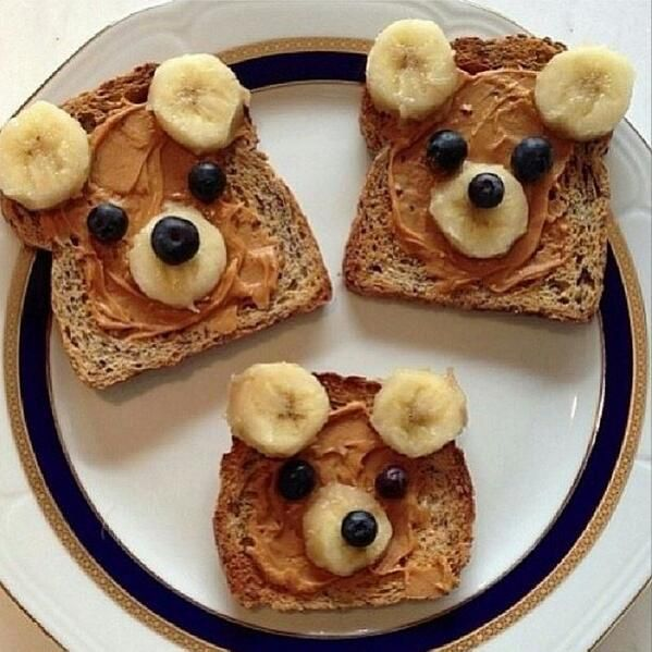 One of the cutest meals we have seen! Great for kids! Ezekiel bread with peanut butter and bananas.