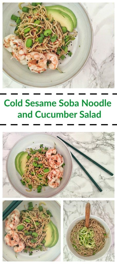 Cold Sesame Soba Noodle and Cucumber Salad with Poached Shrimp is a ...