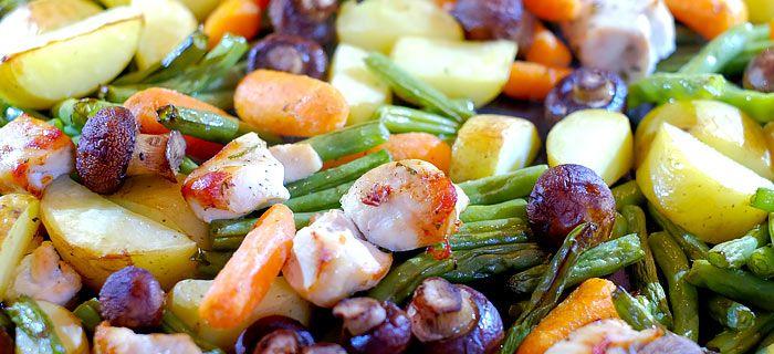 Boontjes, wortels en champignons uit de oven