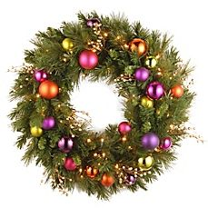 image of National Tree Company Kaleidoscope 30-Inch Pre-Lit Wreath with Ornaments and Warm White LED Lights