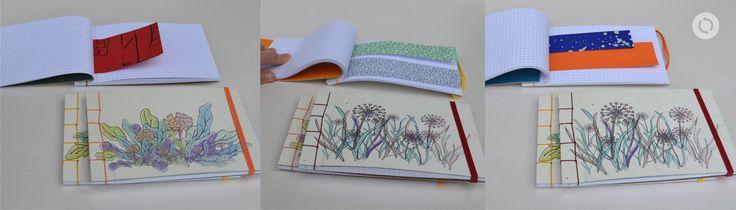 Libretas tapa dura, cubierta de papel - costura japonesa de 4 puntos - 60 hojas cuadriculadas + recortes de diferentes tipos de papeles y colores - tamaños: 12x19cm /22 x 8 cm - $40c/u
