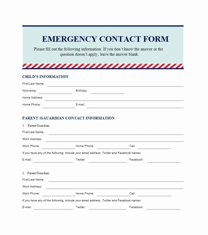 Employee Emergency Contact Form Template Luxury 54 Free Emergency Contact Forms Employee Student Emergency Contact Form Emergency Contact Contact Form