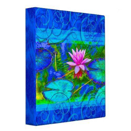 Vibrant Garden Waterlily Lotus Yoga Notebook Binder - diy cyo personalize design idea new special custom