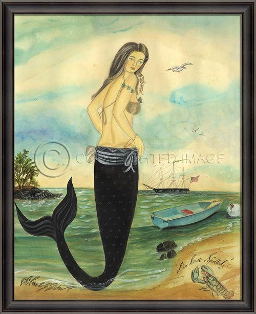 I've Been Spotted - Medium Framed Mermaid Art Nantucket Mermaid, waiting for her sailor to return. - Love Kolene Spicher's work!
