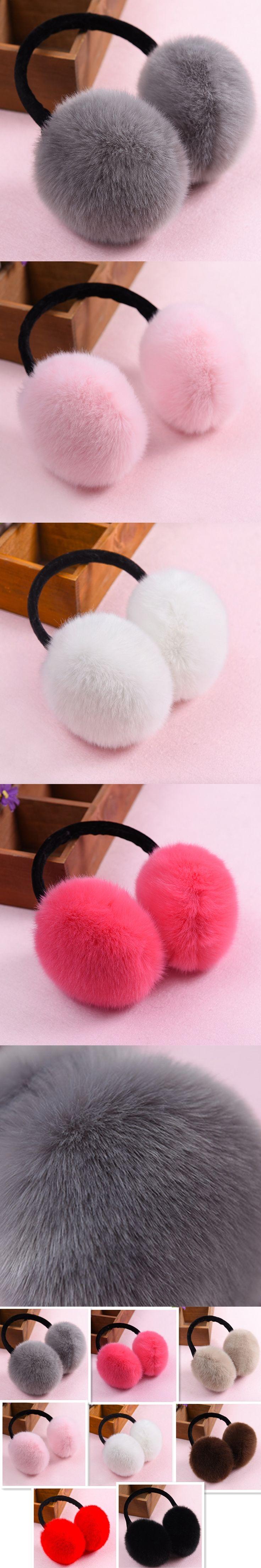 BONJEAN Fashion faux Rabbit Fur Women Earmuffs Winter fluffy plush Ear muffs warmers soft Warm Ear Cover Adjustable white black