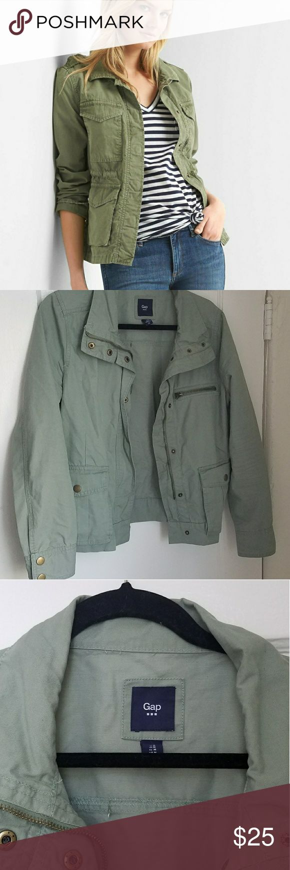 Gap Outlet Green Utility Jacket Gap Outlet green utility jacket. The color of this jacket is more washed out than army. It's a bit cropped - hits at top of hip. Great to throw over almost anything. 100% cotton. Great condition. Only worn a few times. gap GAP Jackets & Coats Utility Jackets